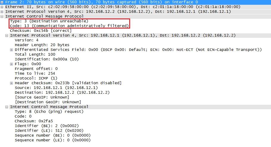 Wireshark Capture ICMP تمت تصفيته إداريًا