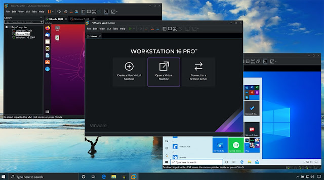 Interface do programa VMware Workstation 16.1.1 Pro + Player