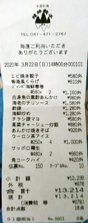 桂林餃子満足 2020/3/22 飲食のレシート