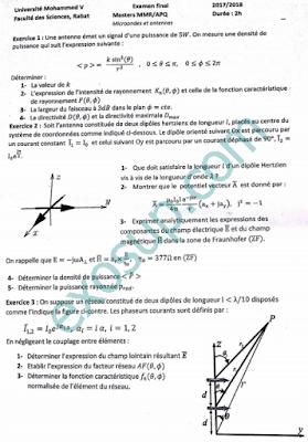 examen microondes et antennes master apq mmr s3 fsr 2017-2018