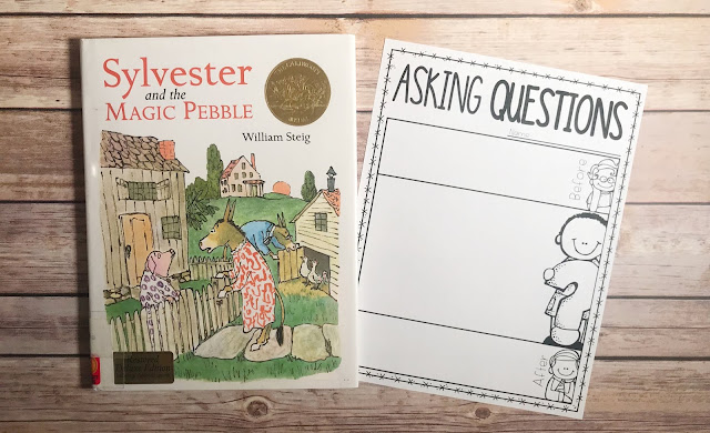 "Mentor text with text ""Sylvester and the Magic Pebble"" and graphic organizer with text ""Asking Questions"""
