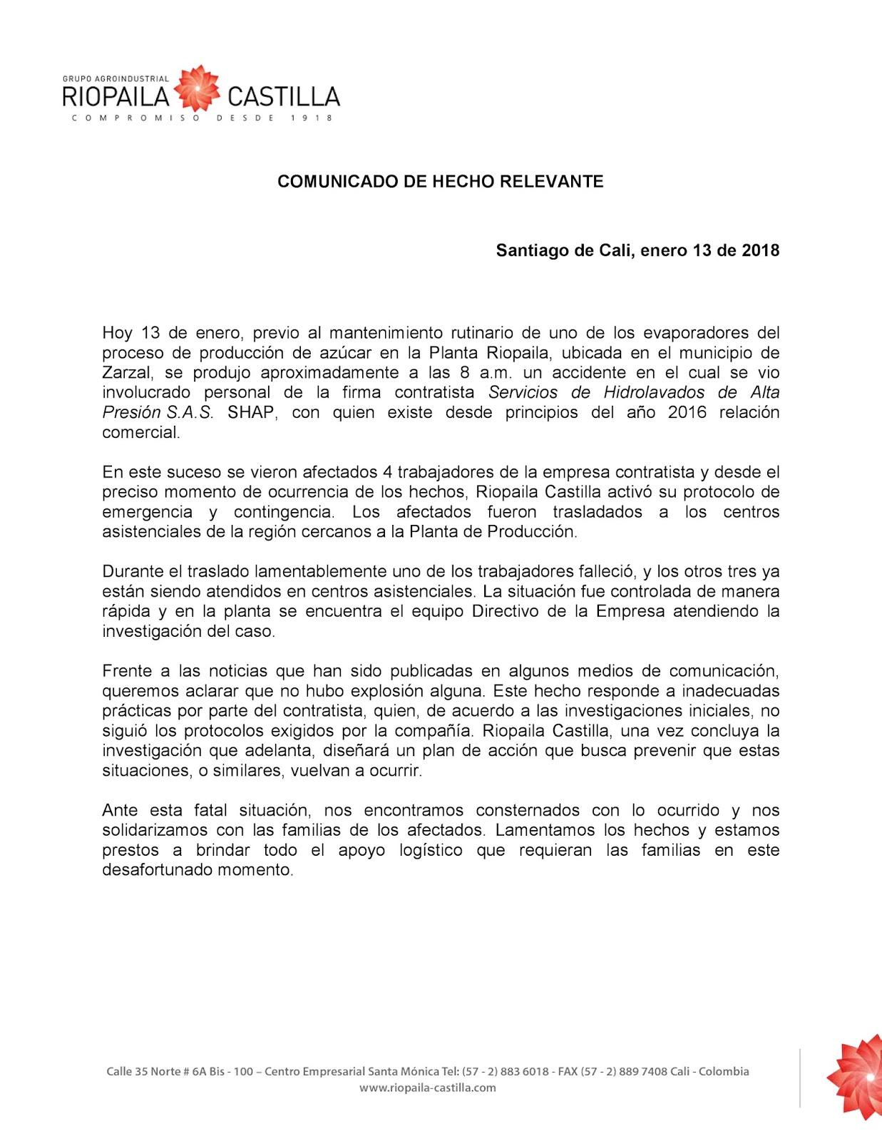 Comunicado RIOPAILA CASTILLA