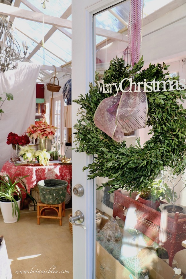 A working greenhouse in the depths of winter is a special space for a little French Country during the Christmas season