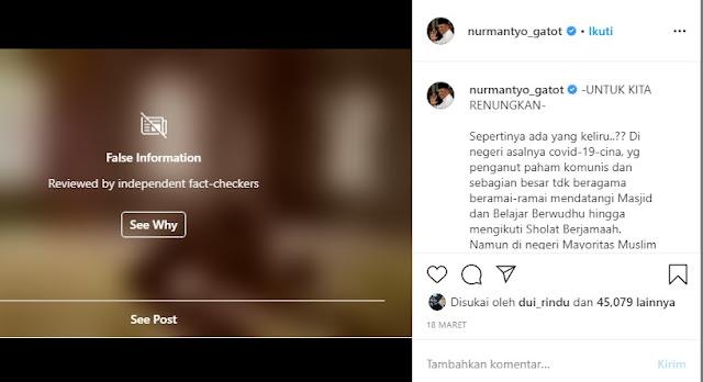 Postingan Jenderal Gatot Nurmantyo Dianggap Hoax Oleh Instagram
