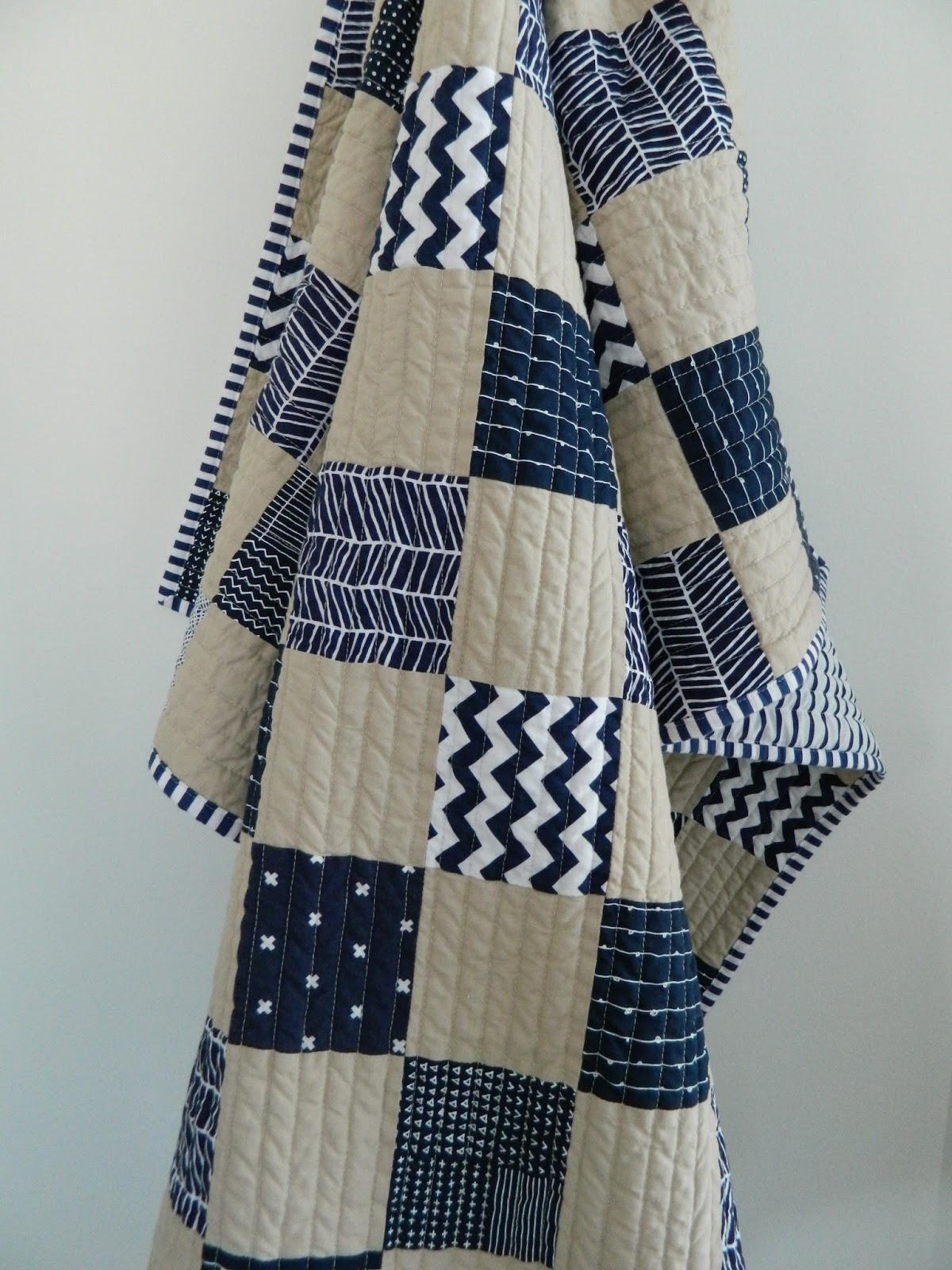 S O T A K Handmade Navy Parchment Baby Quilt