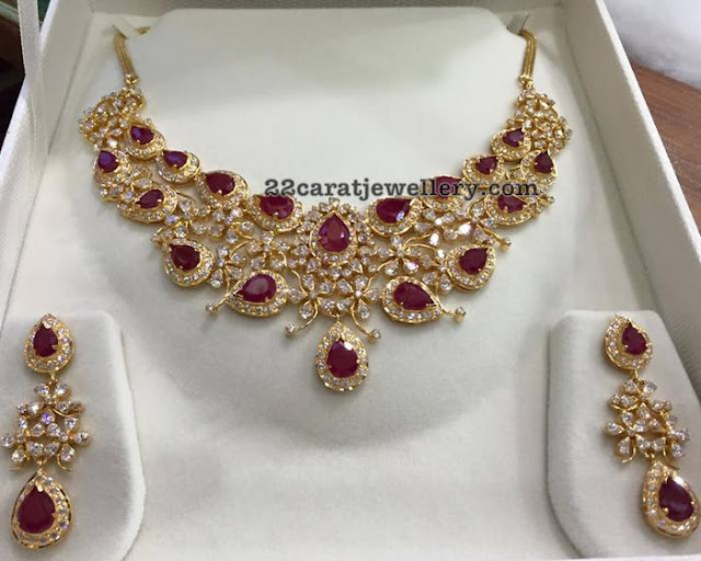 CZ Ruby Necklace Earrings 68 grams