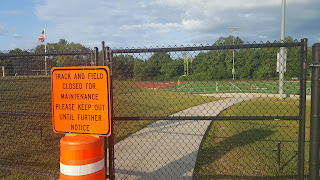 sign clearly forbidding access until the work is complete