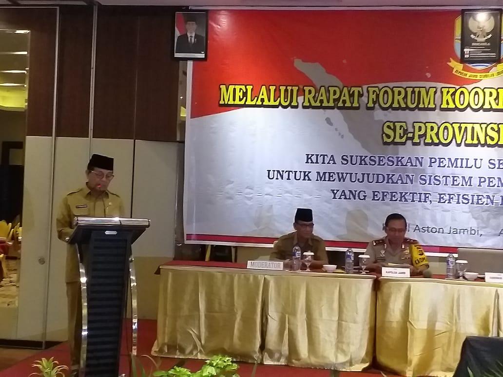 Gubernur Jambi Fachrori Ajak Forkopimda Sukseskan Pemilu 2019