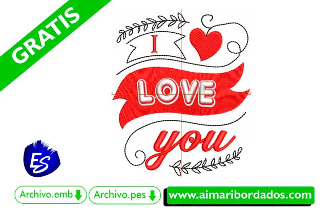 I love you | Descargar bordado para enamorados