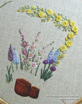 Embroidered front of Lorna Bateman scissors keeper in progress