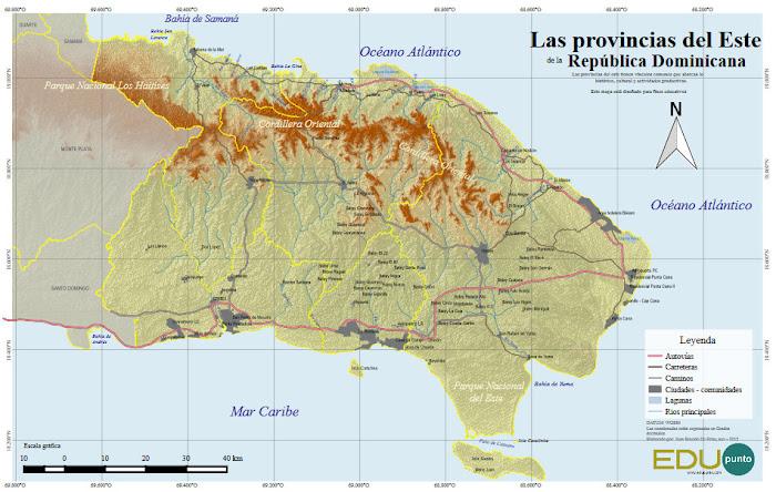edupunto,region,este,oriental,dominicana,geografia,mapa