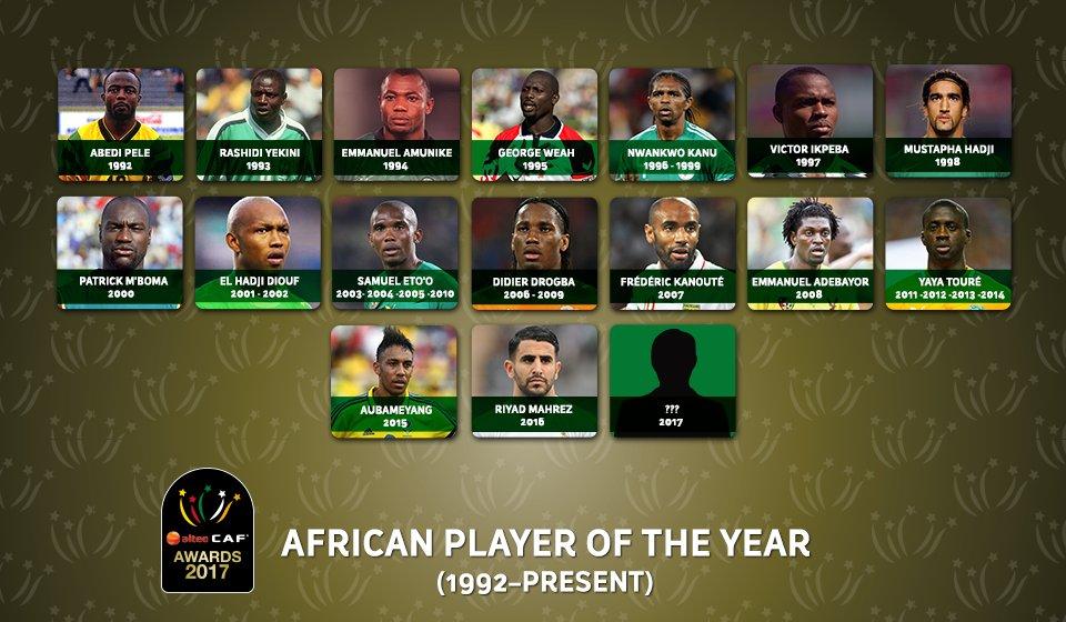 صورة تجمع قائمة الفائزون بلقب أفضل لاعب في إفريقيا منذ عام 1992.