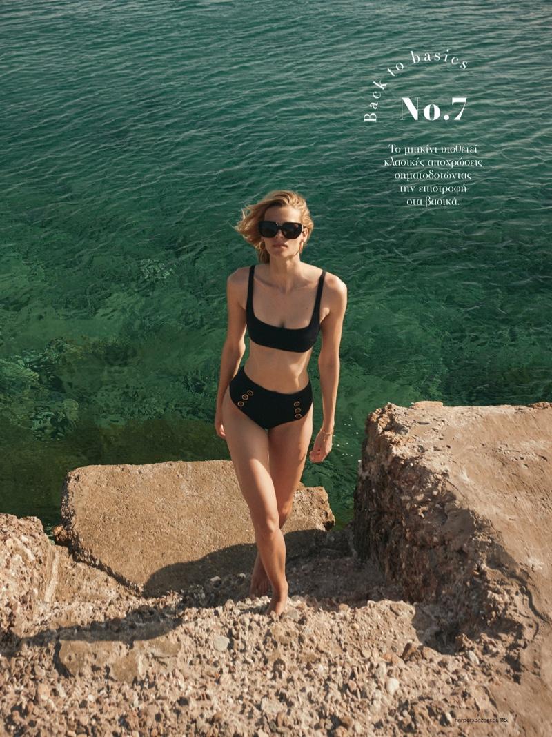 Mariina Keskitalo poses for Harper's Bazaar Greece July 2021