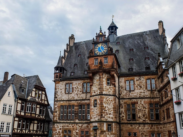 View of the Rathaus and its clock tower in Marburg.
