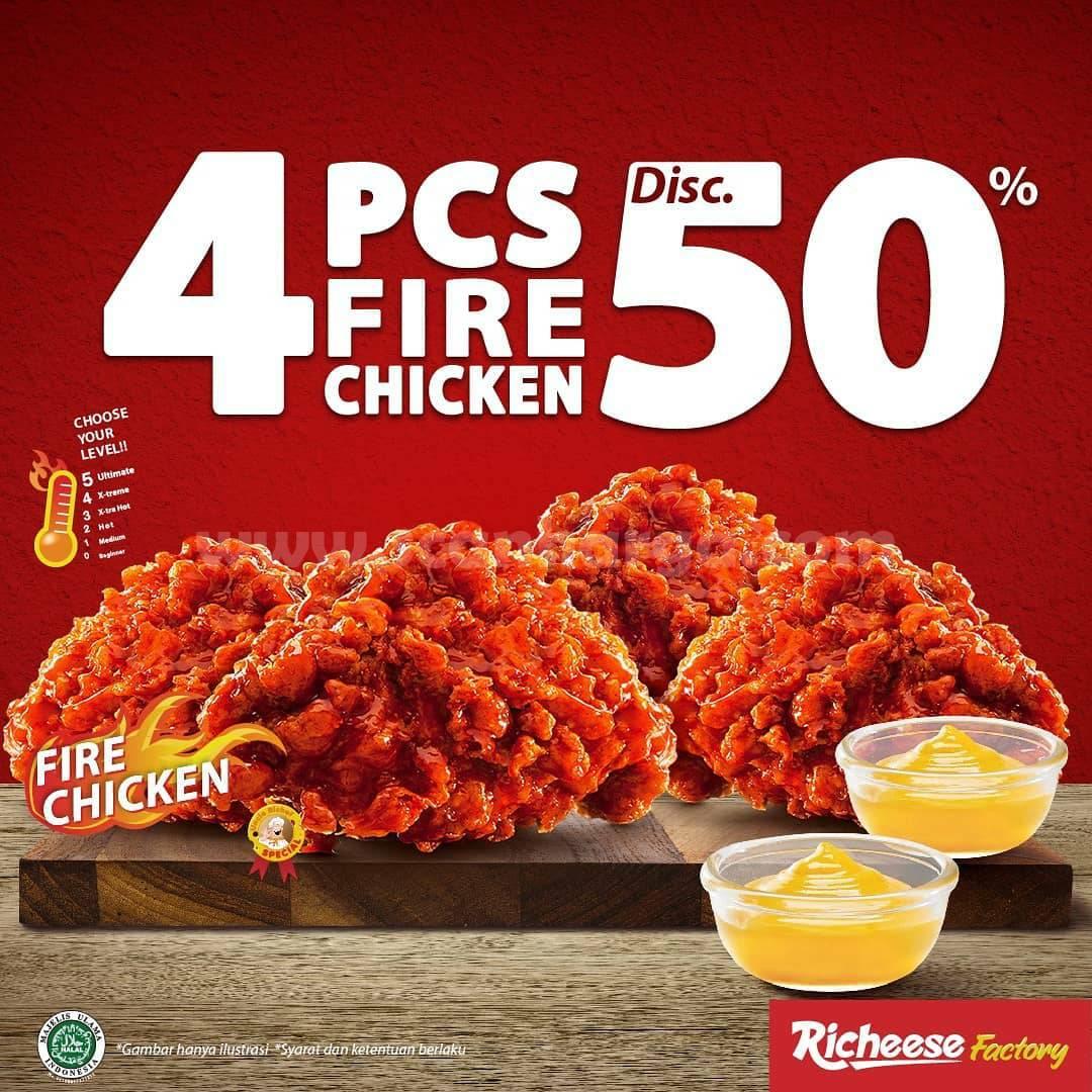 Promo Richeese Factory - Beli 4 Pcs Fire Chicken Diskon 50%