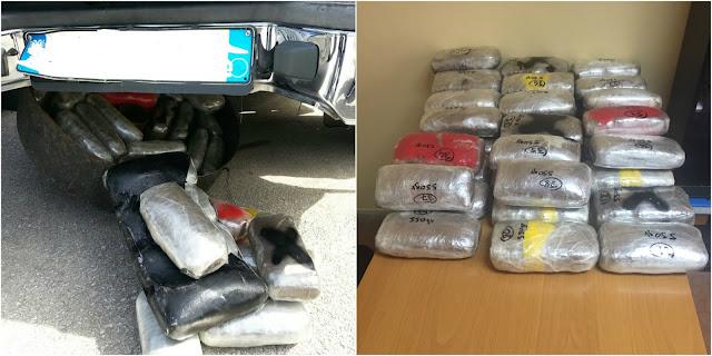 Συνελήφθη 23χρονος Αλβανός, με περίπου 21 κιλά κάνναβης, κρυμμένα στη ρεζέρβα αυτοκινήτου