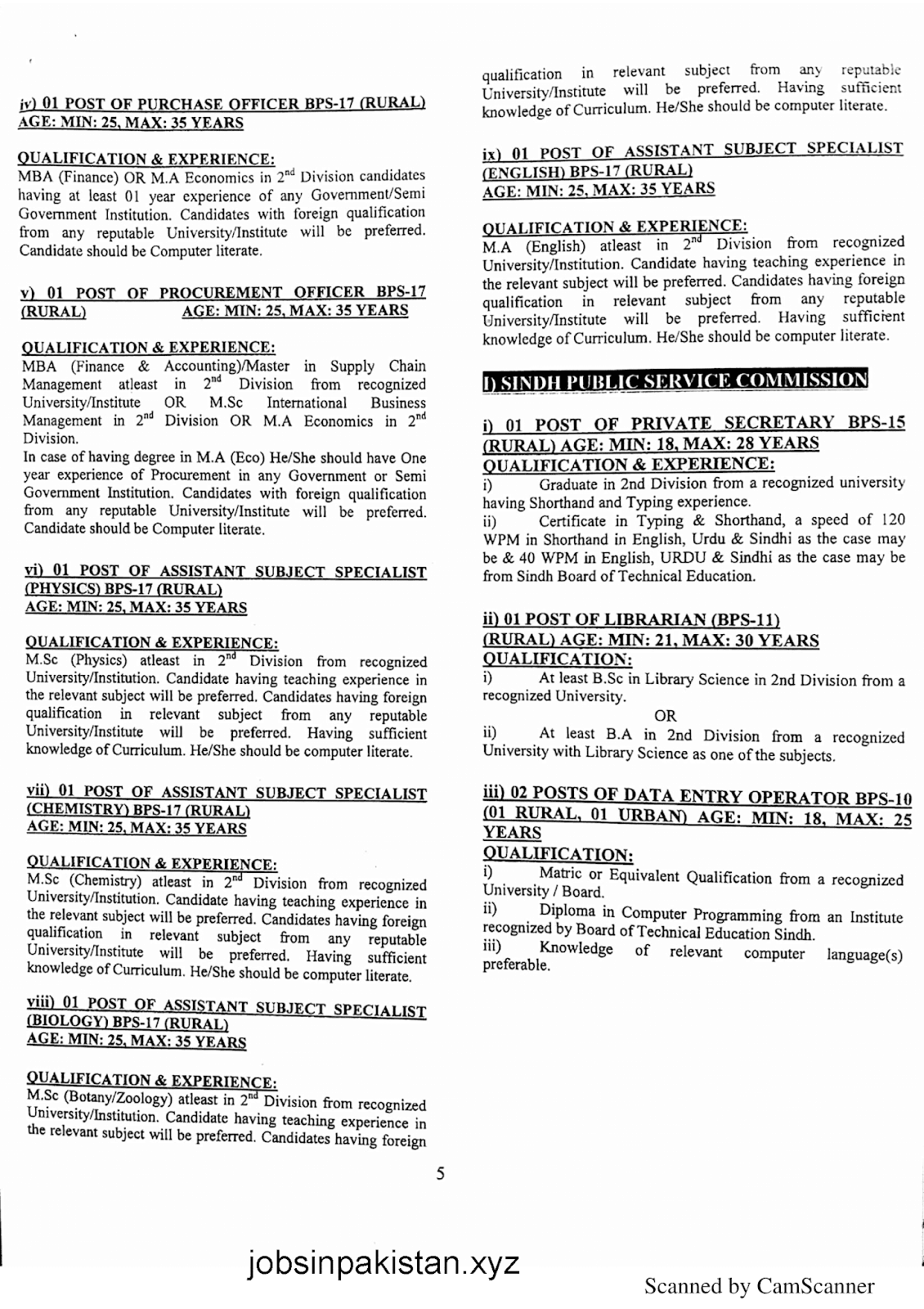 SPSC Advertisement 01/2019 Page No. 5/6