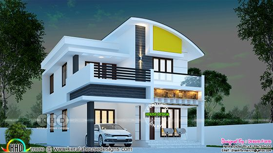 3 BHK 1445 square feet curved roof home