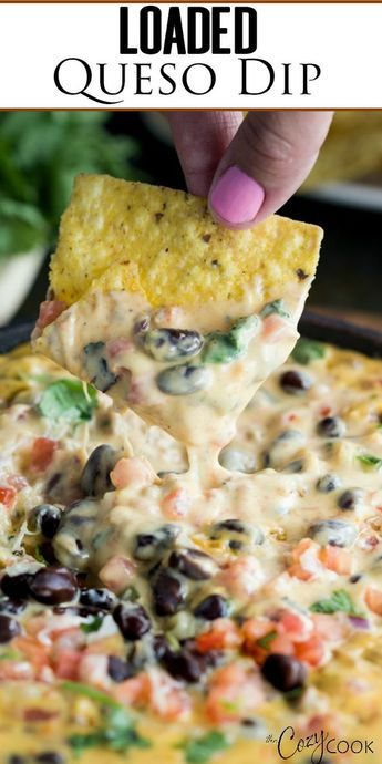 This easy Homemade Queso Dip is loaded with warm, melty cheddar, pepper jack, beef, pale ale, Rotel Tomatoes, black beans, and fresh cilantro. It's a Cowboy's dream!