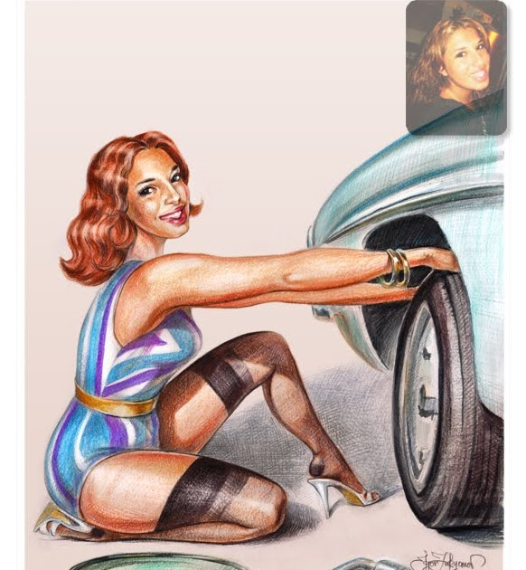 personalized pin up art with a car. Black Bedroom Furniture Sets. Home Design Ideas