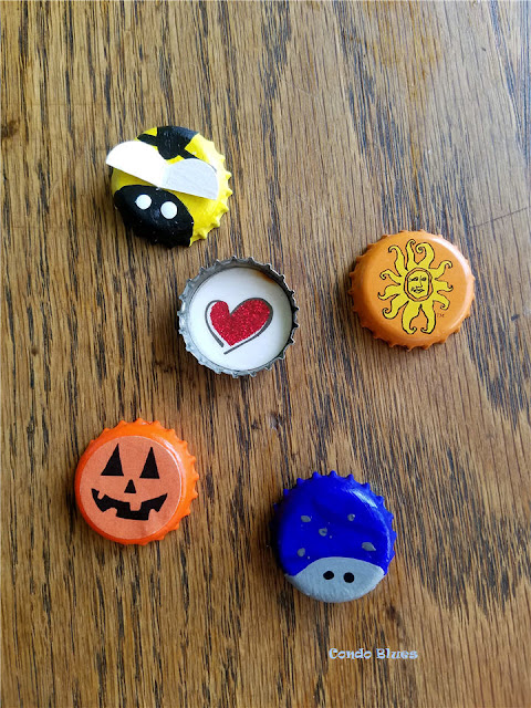 quick and easy make and take recycled bottle cap refrigerator magnet craft ideas