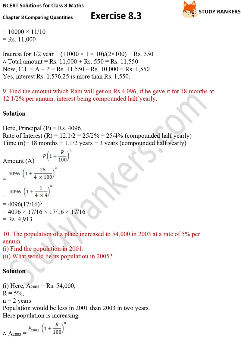 NCERT Solutions for Class 8 Maths Ch 8 Comparing Quantities Exercise 8.3 8
