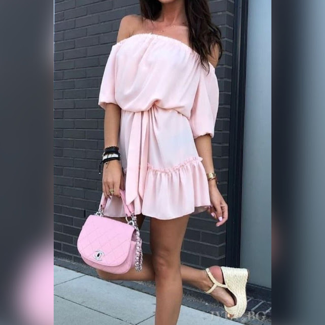 Μοντέρνο κοντό ανοιχτό ροζ φόρεμα LAKITA