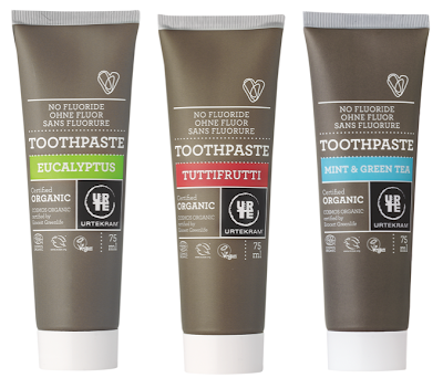organic toothpaste in 3 interesting flavors: eucalyptus, tutti-frutti, and a mint / green tea combo