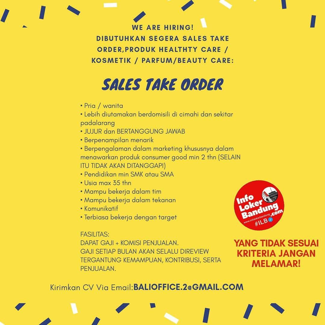 Lowongan Kerja Sales Take Order PT. Tamba Sanjiwani Juli 2020