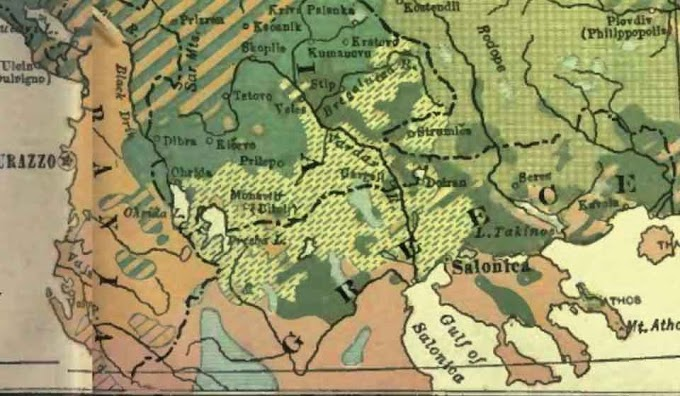 Map from 1922 shows 'Macedonian Slavs' and 'Slavo-Mongols, Bulgarians'