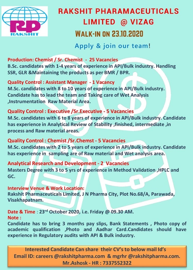 Rakshit Pharma | Walk-Ins for in Production / Quality Control / Analytical R&D on 23rd Oct' 2020 at Visakhapatnam