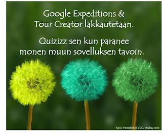 Google Expeditions & Tour Creator lakkautetaan. Quizizz sen kun paranee monen muun sovelluksen tavoin.