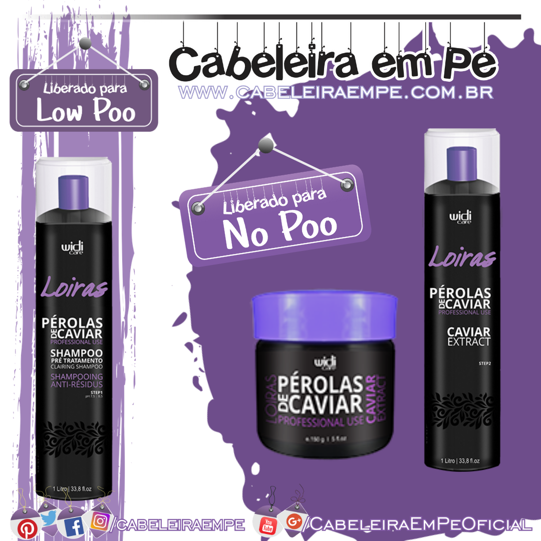 Shampoo (Low Poo), condicionador e máscara (liberados para No Poo) - Widi Care