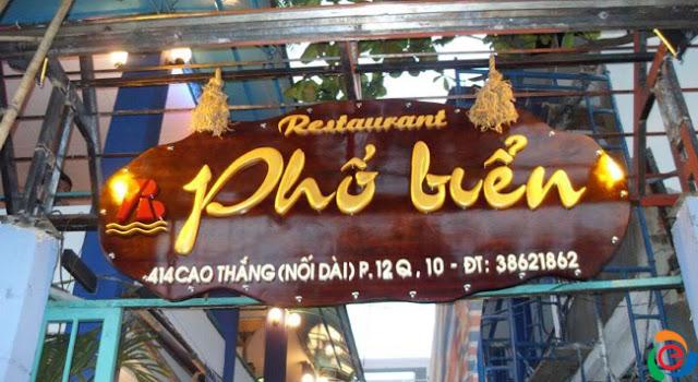 Bảng hiệu quán ăn nhà nhà Phố biển (cao thắng nối dài)