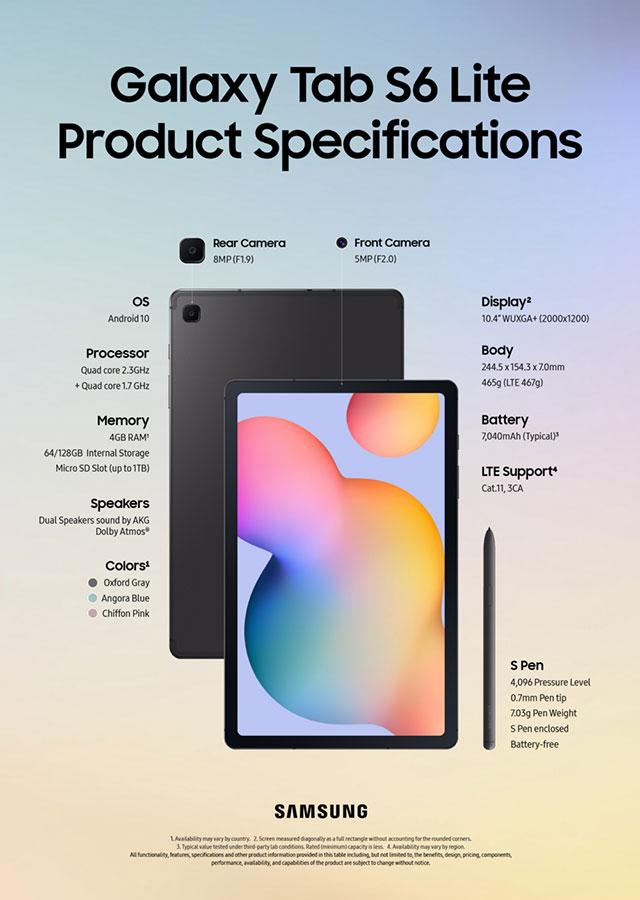 Spesifikasi Galaxy Tag S6 Lite