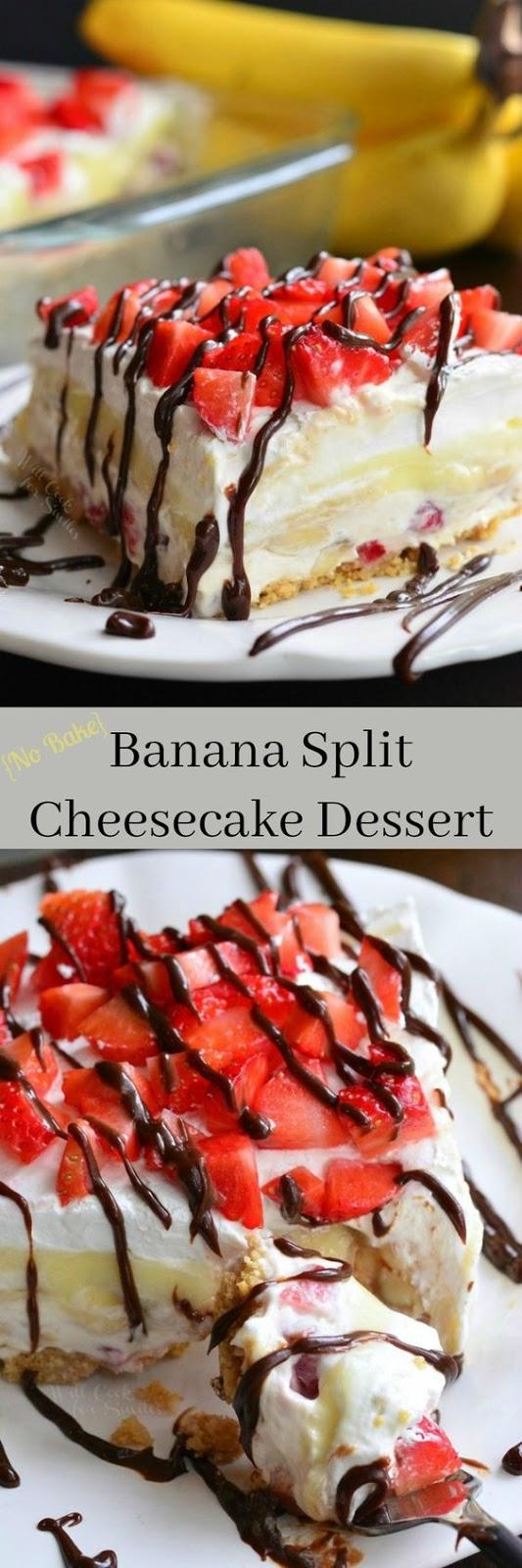 {No Bake} Banana Split Layered Cheesecake Dessert
