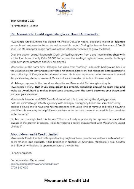 Mwananchi Credit Peess release