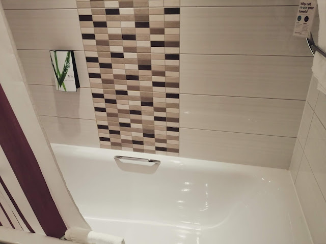 Bath tub at Premier Inn London Heathrow Airport Terminal 4