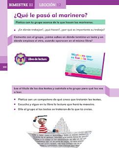 Apoyo Primaria Español 1er grado Bimestre 3 lección ¿Qué le paso al marinero?