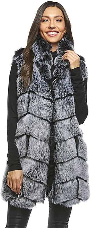 Quality Grey Faux Fur Vest Sleeveless Waistcoat Jacket For Women