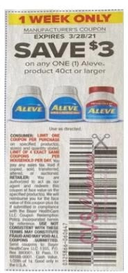 """$3.00/1 Aleve Or Aleve Pm Coupon from """"SMARTSOURCE"""" insert week of 3/21/21."""