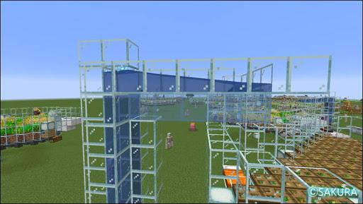 Minecraft 自動小麦農場 水流式アイテムエレベーターの水路