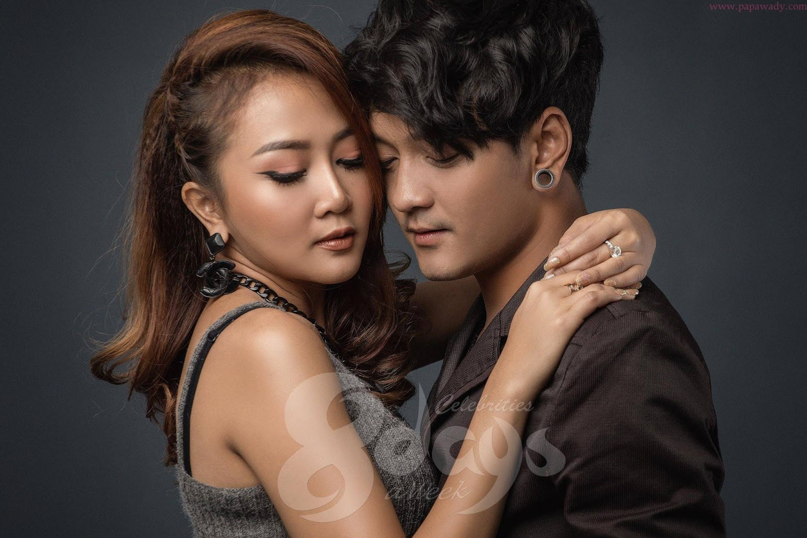 Aung La And Wyne Su Khine Thein Stylish Couple Studio Photoshoot