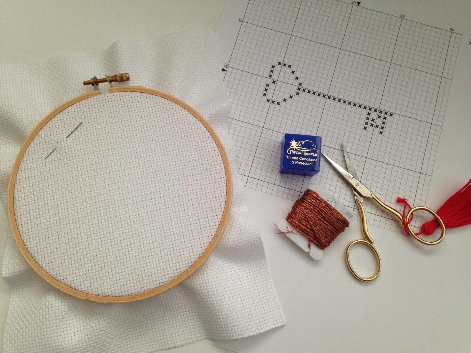 Cross Stitch Embroidery Hoop Needles Thread Floss Scissors and Design for New Project