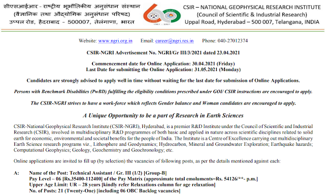 NGRI 38 Technical Assistant Grade III Recruitment 2021 Apply Online