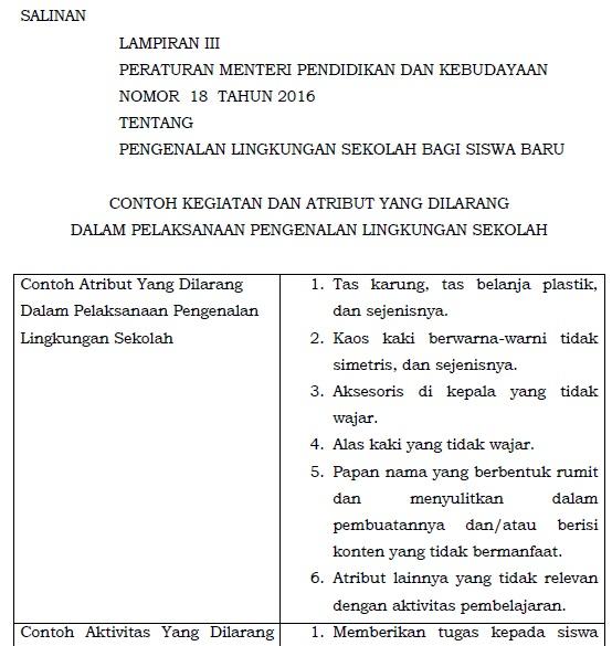 Contoh Atribut yang Dilarang dalam Pelaksanaan Pengenalan Lingkungan Sekolah bagi Siswa B 6 Contoh Kegiatan dan Atribut yang Dilarang  dalam Pelaksanaan Pengenalan Lingkungan Sekolah bagi Siswa Baru
