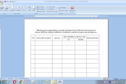Format penjabaran standar kompetensi di setiap mata pelajaran sekolah