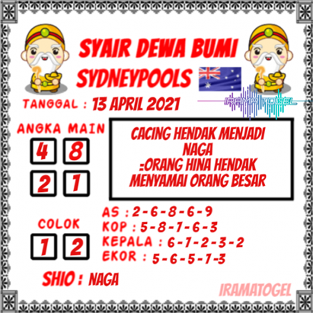 Syair Dewa Bumi Sidney Selasa 13 April 2021