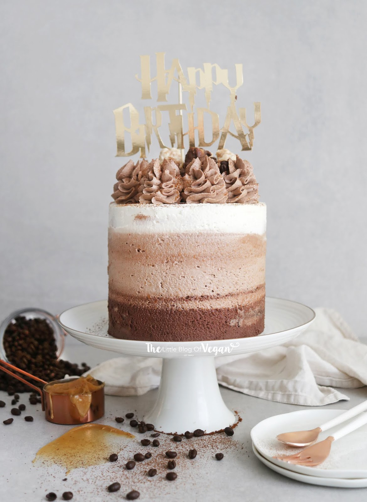 Amazing Chocolate Coffee Ombre Cake The Little Blog Of Vegan Funny Birthday Cards Online Elaedamsfinfo