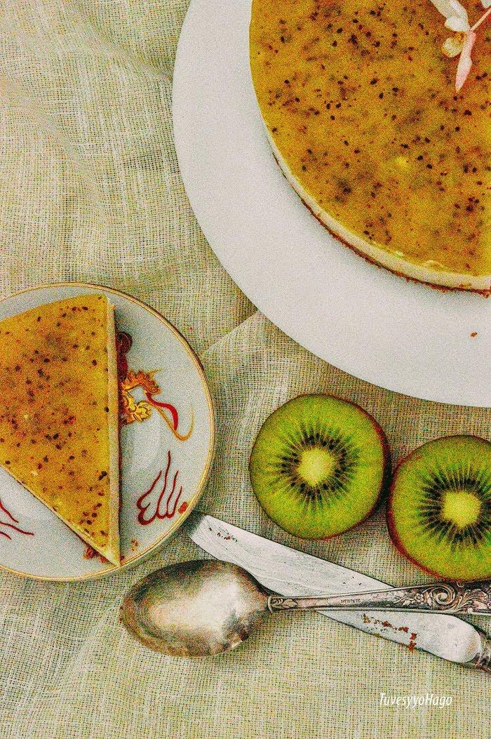 Tarta Fría de Queso con Gelatina de Kiwi - TuvesyyoHago